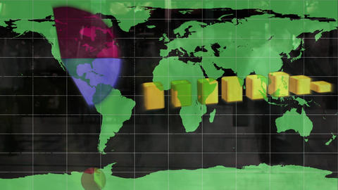 Data charts growing on a world map with crowd Animation