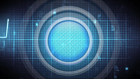 Blue button against energy wave and grid pattern Animation
