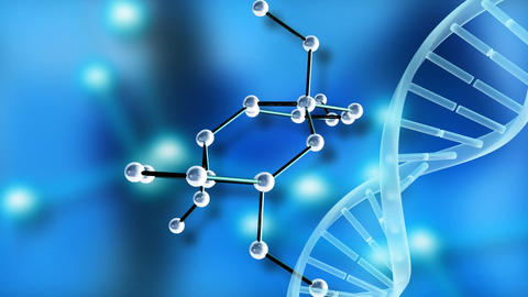 Molecular structure with DNA helix on blue background Animation