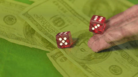 Man throwing dice on the poker table with money Animation