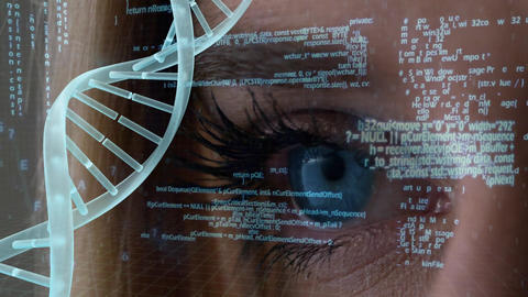 DNA composite with data information on blue eye background Animation