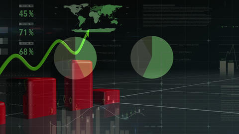 Red bar chart and green trend line Animation