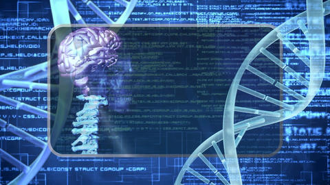 Spiral molecule of DNA in abstract blue space with data backdrop Animation
