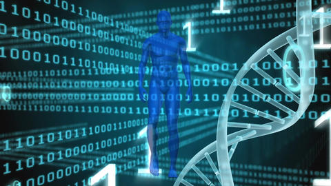 DNA animation with data information on dark background Animation