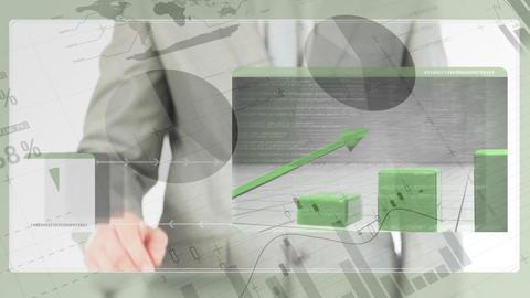 Businessman swiping on futuristic screen Animation