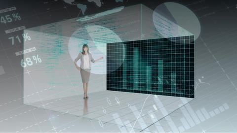 Businesswoman standing in cube projecting statistical data Animation