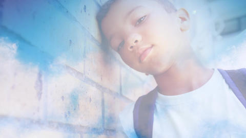 Young boy leaning against wall Animation