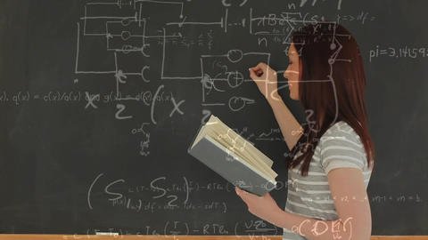 Digital animation of a woman writing on a board Animation