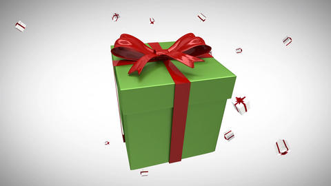 Falling gifts on white background Animation