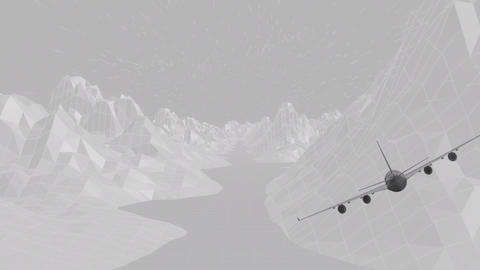 Animation of a plane on moutain Animation