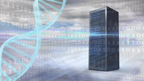 Spinning DNA and data server surrounded by binary codes Animation