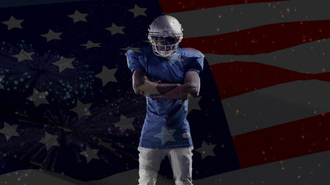 American football player with an American flag and fireworks Animation