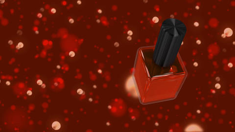 Red spinning nail polish against red glitter background CG動画