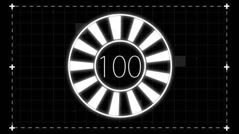 Digital animation of countdown from 0 to 100 on black background CG動画