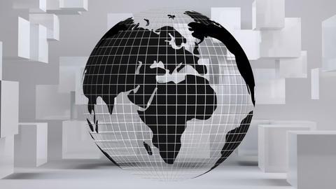 Globe turning around itself with with cube on background 4k Animation
