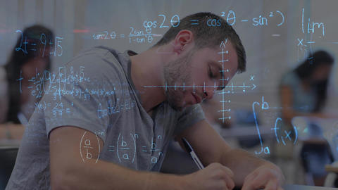 Student sitting in a classroom exam against mathematicals calculations Animation