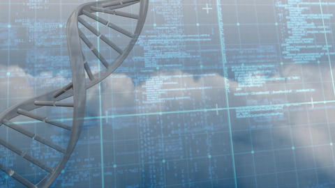 DNA animation with data information on blue grid background Animation