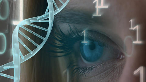 Blue eye surounded by binary code and spinning DNA helix Animation