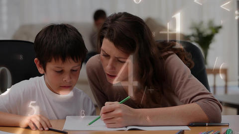 Mother helping her son with his homework surrounded by mathematical symbols Animation