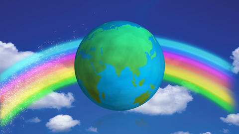 Spinning earth globe against a blue sky with a rainbow Animation