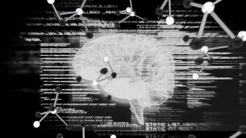 Spinning brain agaisnt molecul and binary codes Animation