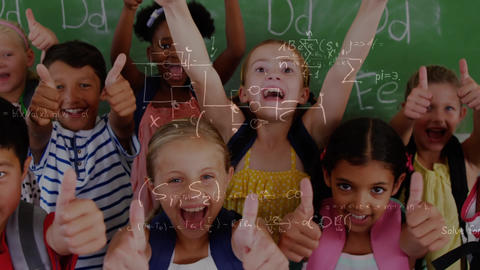 Happy children in the classroom surrounded by animation of mathematics symbols Animation