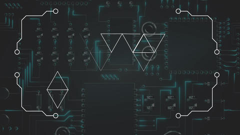 Digital triangles moving against a printed circuit board background Animation