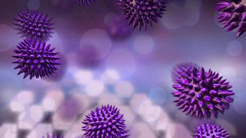 Purple bacteria on free falling Animation