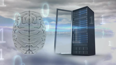 Digital composite of a brain and a server tower Animation