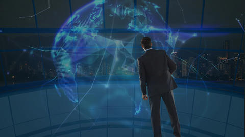 Businessman looking at a spinning earth globe surrounded by data connections Animation