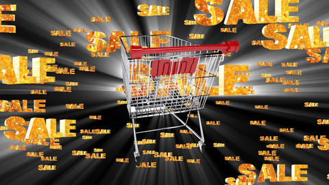 Spinning sale shopping trolley and sale sign Animation