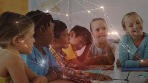 Children and teacher in the classroom with data connections Animation