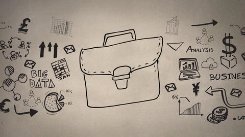 Digital composite of a brown bag with random business icons Animation
