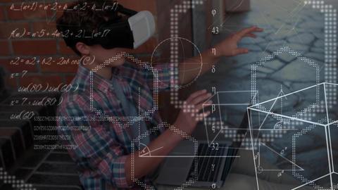 Man using VR simulation and raising hands Animation