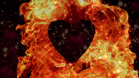 Appearance of heart with flame on a red backdrop Animation