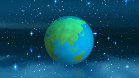 Spinning earth globe against stars in the space Animation