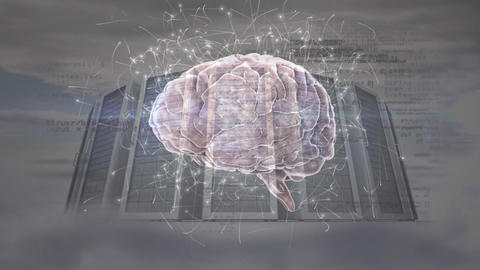 Digital composite of a brain and server dome Animation