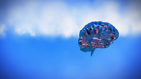 Spinning iron brain on a sky background Animation