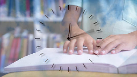 Student reading with a clock on the foreground Animation