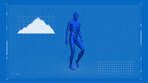 Digital animation of blue man walking on blue space Animation