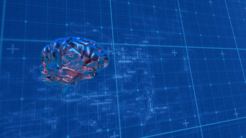 Digital composite of a human brain and the cyber blueprint Animation