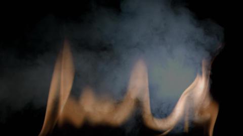 Digital shadow flame with smoke on black background Animation