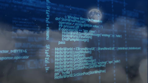 Digital composite of source codes and digital scripts for mobile devices Animation