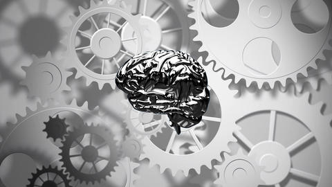 Spinning brain against mechanical gear Animation