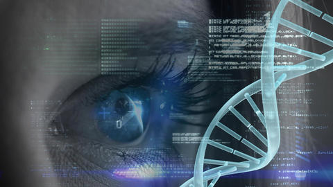 Woman blue eye with binary code and spinning DNA Animation