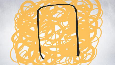 Digital composite of a mobile tablet on a yellow scribble Animation