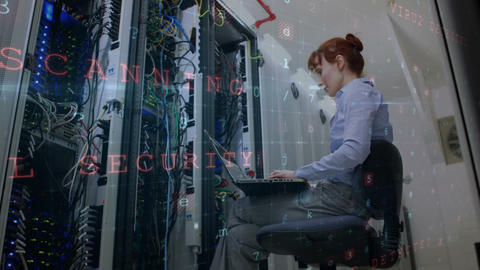 Woman working in data server room 4k Animation