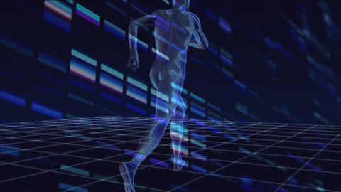 Digital composite of a running digital man Animation