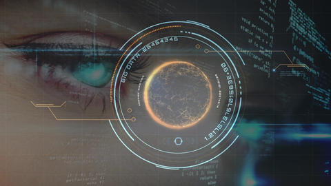 Digital composite of human eyes and cyber technology concept Animation