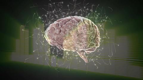 Digital composite of a brain and digital bars Animation